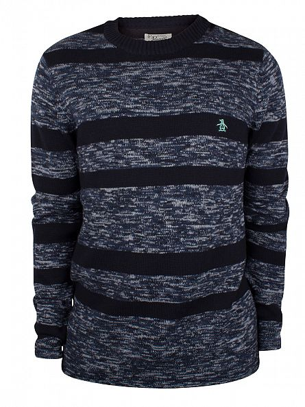 Original Penguin Dark Sapphire Jersey Placed Machine Mix Striped Knit
