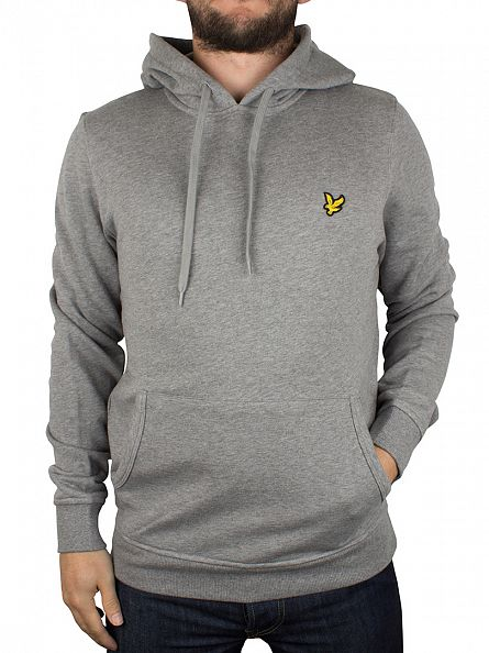 Lyle & Scott Mid Grey Marl Pullover Logo Hoodie