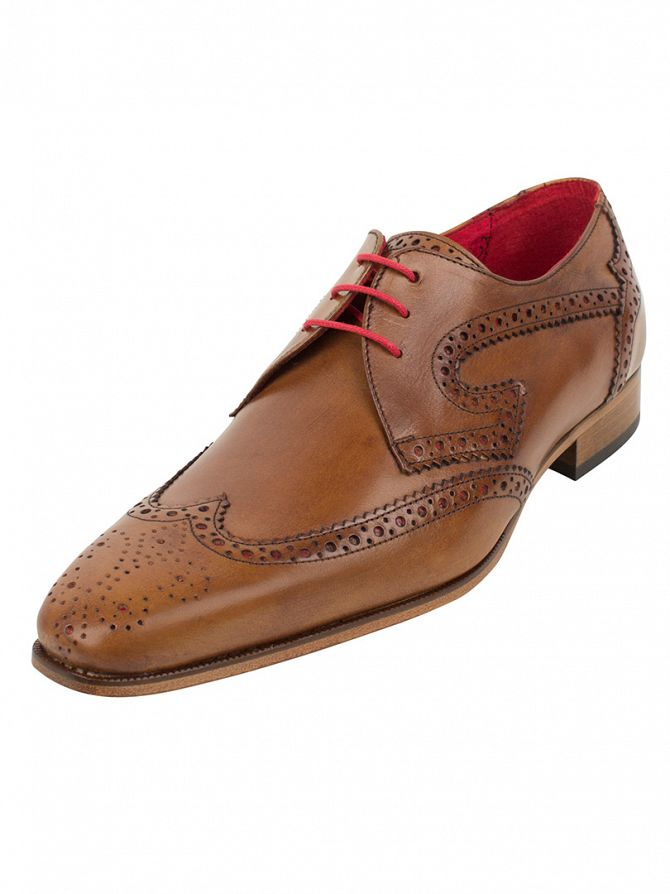 Jeffery West Lavato Tan/Charcoal Red Capone Shoes