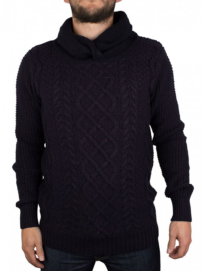 Scotch & Soda Night Melange Twisted Hood Pull In Cable Knit