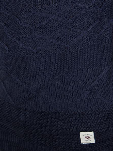 Bellfield Navy Vogar Mixed Cable Knit