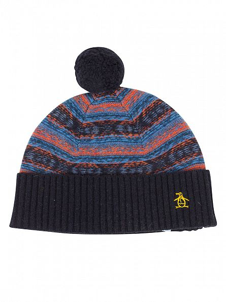 Original Penguin Nightshadow Blue Reverse Jacquard Bobble Beanie
