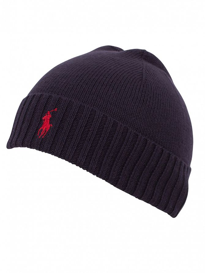 Polo Ralph Lauren Hunter Navy Fold Over Logo Beanie