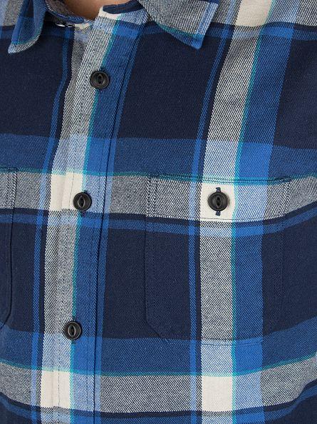 Edwin Blue Check Checked Longsleeved Labour Shirt