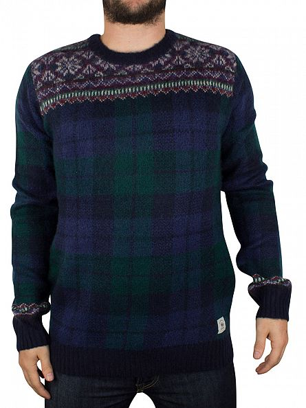 Bellfield Navy Flores Check Knit