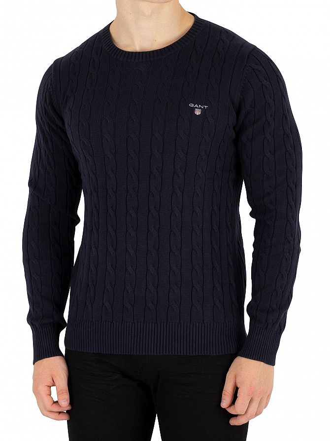 Gant Evening Blue Cotton Cable Knit