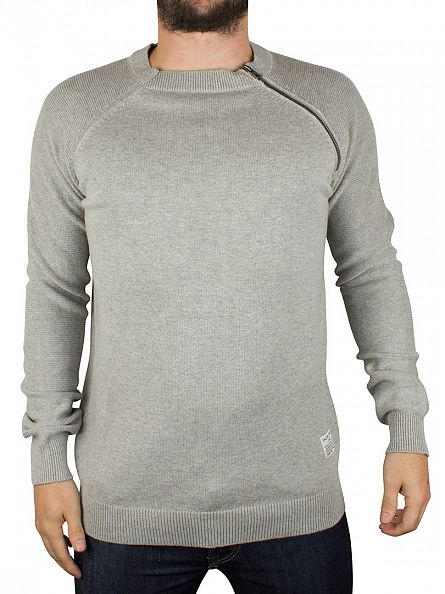 Jack & Jones Light Grey Melange Bryan Zip Knit