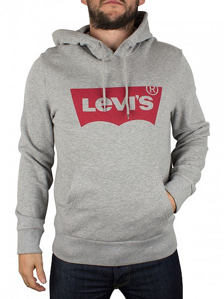 Levi's Light Grey Marl Red Tab Logo Hoodie