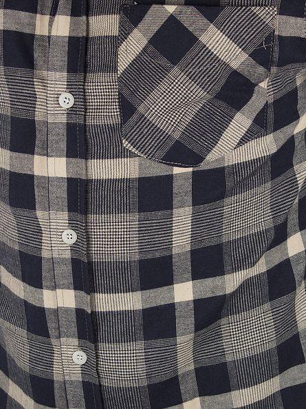 Bellfield Navy/Grey Coundon Overdye Gingham Checked Shirt