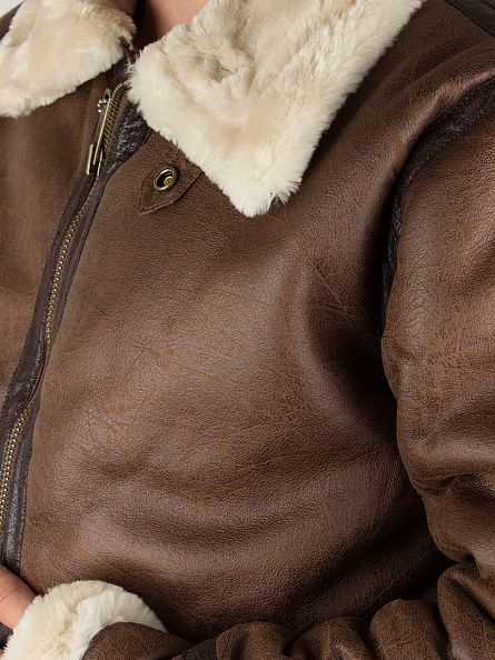 Alpha Industries Brown Fur Collar B3-FL Jacket