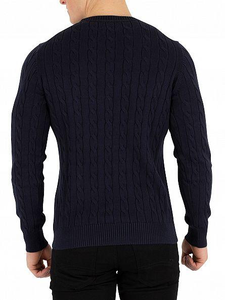 Gant Evening Blue Cotton Cable Knit