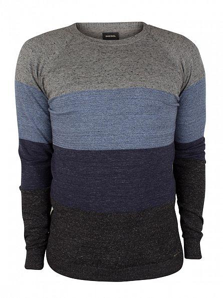 Diesel Grey/Blue/Navy Calib Striped Knit