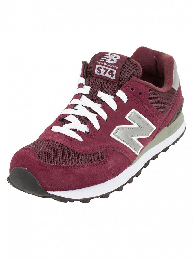 New Balance Burgundy/Silver 574 Trainers