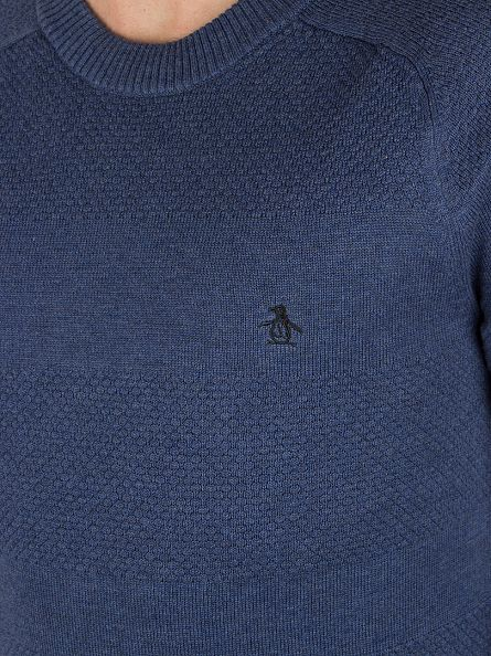 Original Penguin Vintage Indigo Engineered Raglan Textured Knit
