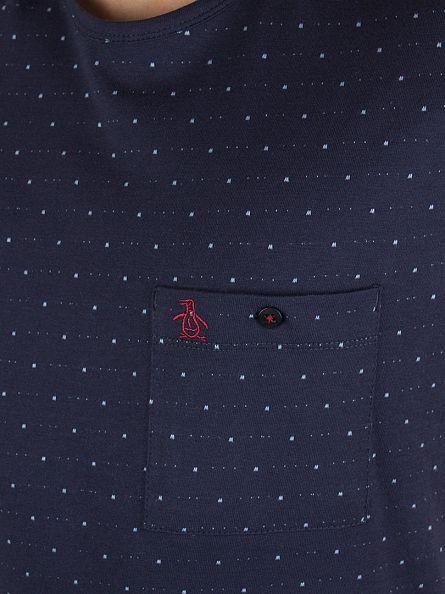 Original Penguin Dark Sapphire Tansol Jacquard All Over Pattern Pocket T-Shirt