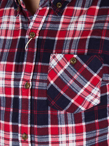 Bellfield Red Conifer Flannel Printed Checked Shirt