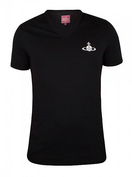 Vivienne Westwood Black V-Neck Logo T-Shirt