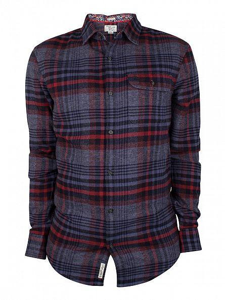 Original Penguin Nightshadow Blue Twisted Yarn Flannel Checked Shirt