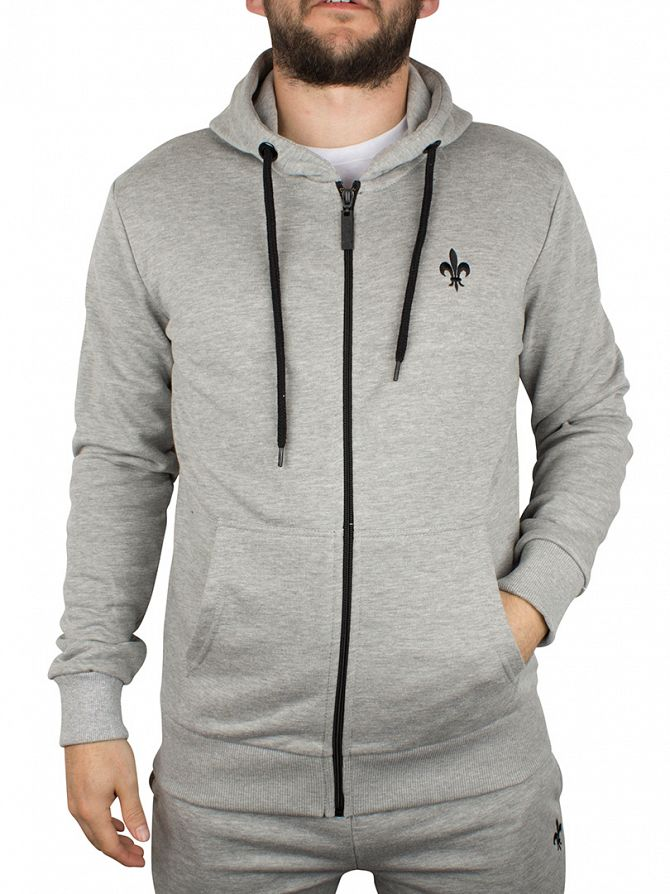Criminal Damage Grey/Black Slim Zip Logo Hoodie