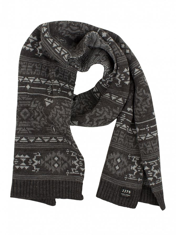 Jack & Jones Grey Melange Native Pattern Scarf
