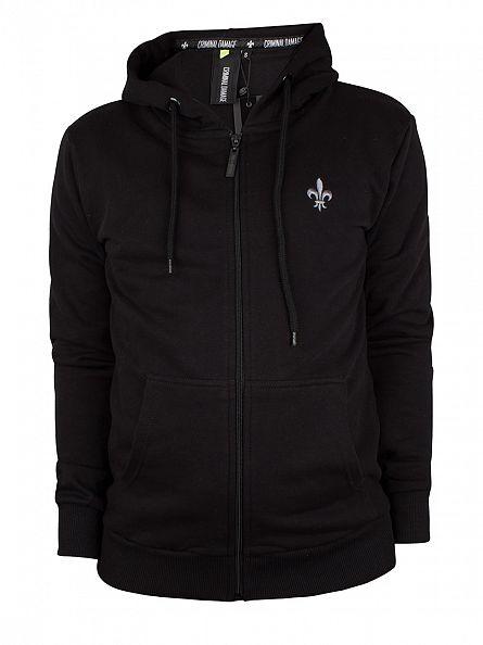 Criminal Damage Black/Charcoal Slim Zip Logo Hoodie