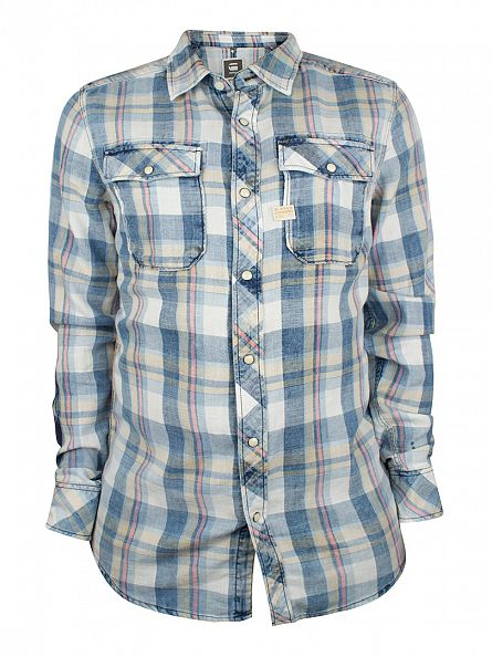 G-Star Rinsed Blue Landoh M2 Checked Shirt