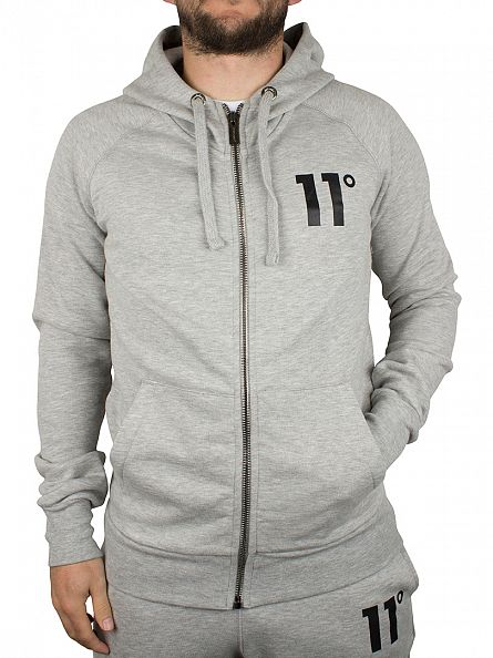 11 Degrees Grey Marl Base Logo Zip Hoodie