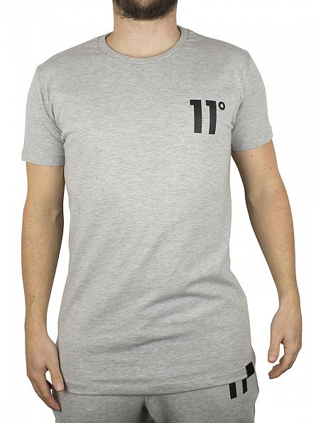 11 Degrees Grey Melange Brand Carrier Logo T-Shirt