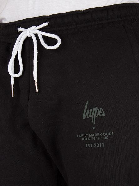 Hype Black Panelled Logo Joggers