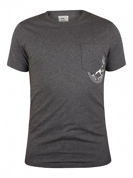 Converse Charcoal Marl Hidden Pocket Logo T-Shirt