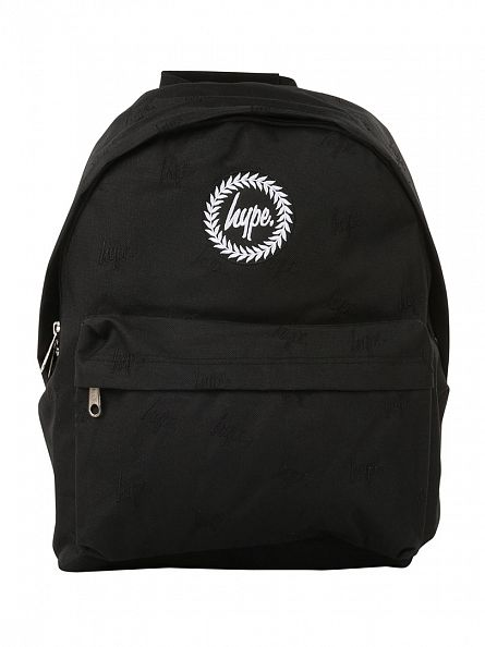 Hype Black/Black Embroidery All Over Logo Backpack