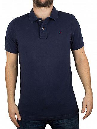 Tommy Hilfiger Denim Black Iris Navy Original Flag Logo Polo Shirt