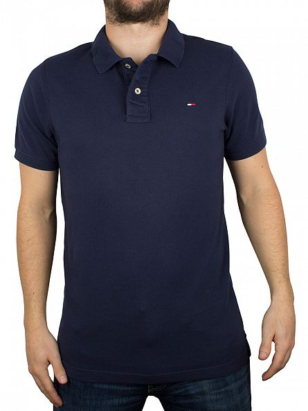 Tommy Hilfiger Denim Black Iris Navy Original Flag Logo Polo Shirt