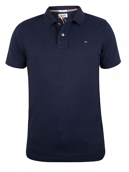 Hilfiger Denim Black Iris Navy Original Flag Logo Polo Shirt