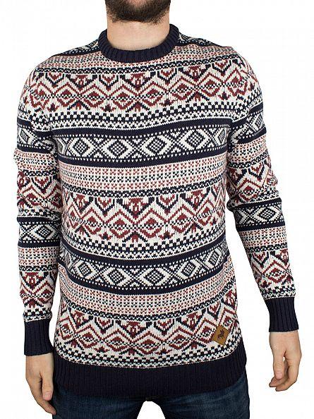 Jack & Jones Navy Blazer/Port/Cloud Winter Pattern Knit