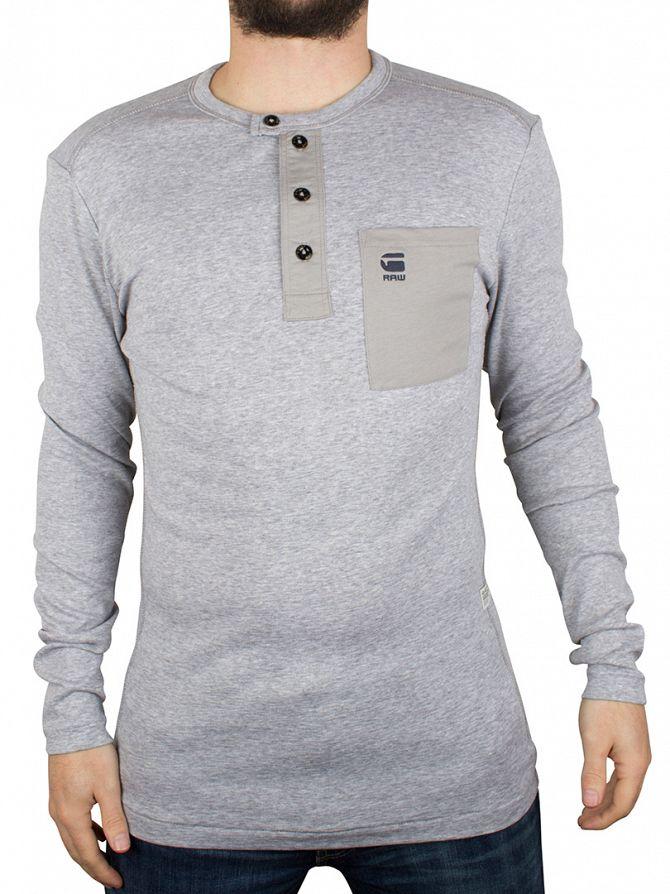 G-Star Grey Heather Mazuren Grandad Longsleeved Pocket T-Shirt