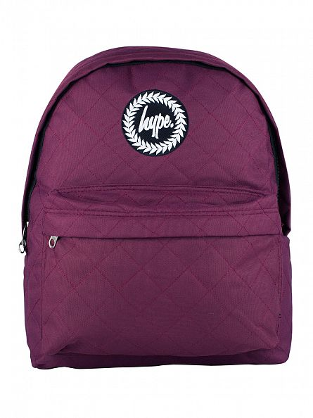 Hype Burgundy Quilted Logo Backpack