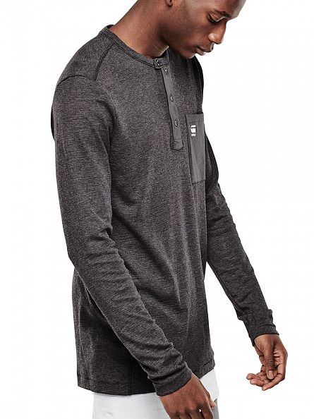 G-Star Black Mazuren Grandad Longsleeved Pocket T-Shirt