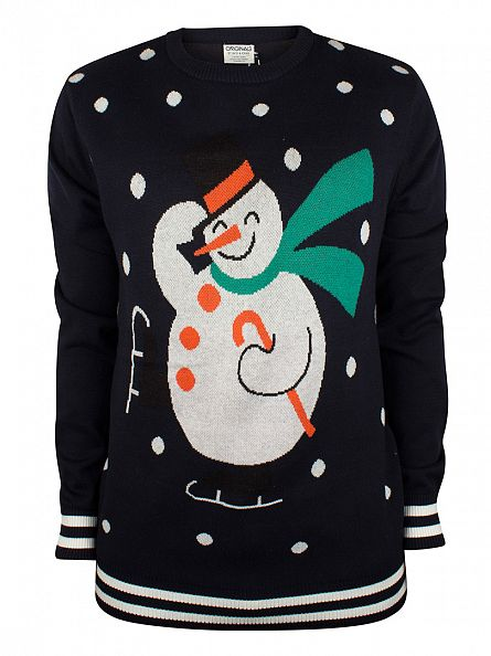 Jack & Jones Navy Blazer Xmas Snowman Knit
