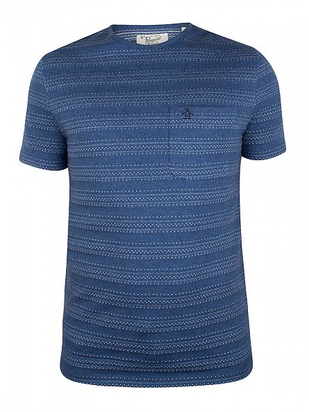 Original Penguin Dark Denim Novelty Jacquard Pattern Pocket T-Shirt