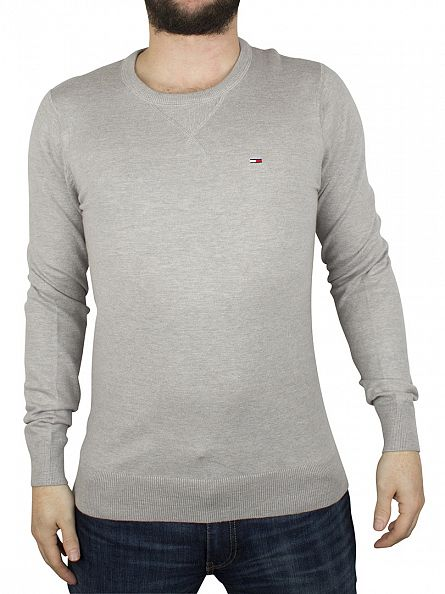 Hilfiger Denim Light Grey Heather Original Logo Crew Knit