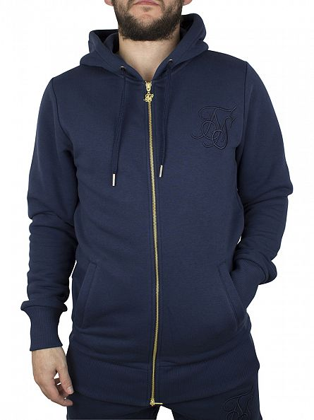 Sik Silk Royal Navy Zip Long Line Logo Tracksuit Hoodie