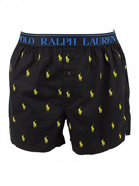 Polo Ralph Lauren Polo Black/Optic Yellow All Over Logo Print Woven Boxers