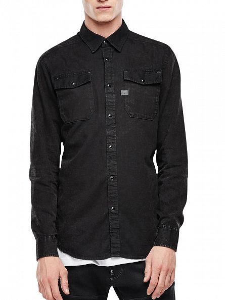 G-Star Dark Aged Black Landoh Slim Fit Popper Shirt