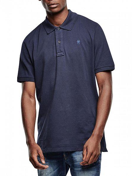 G-Star Saru Blue Mondollo Overdye Slim Fit Polo Shirt