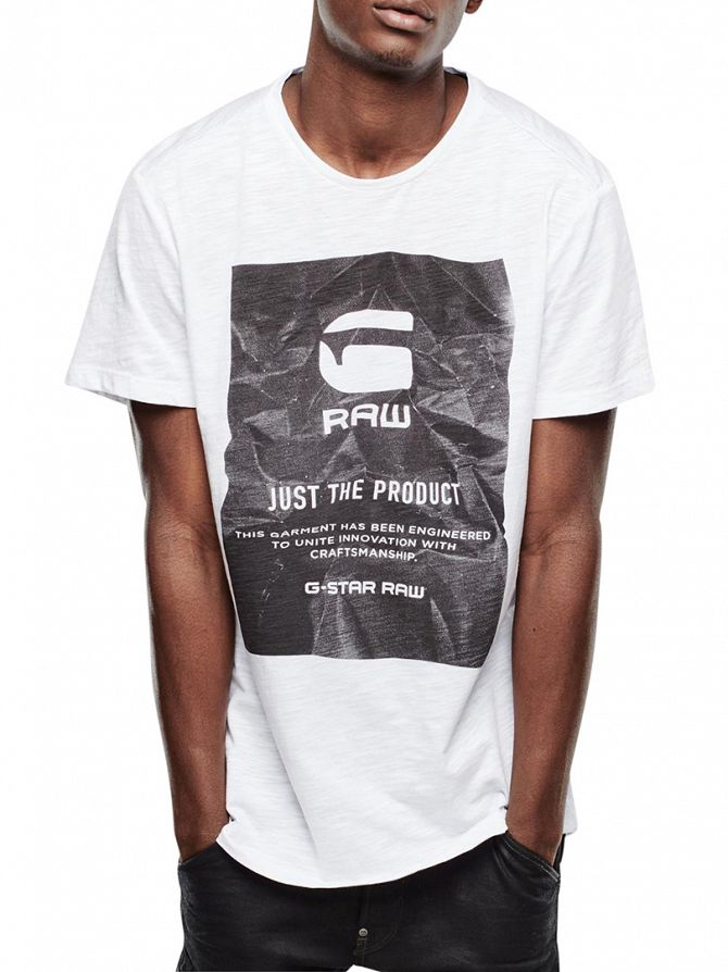 G-Star White Lenk 2 Just The Product Graphic T-Shirt
