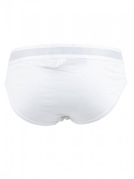 Emporio Armani White Stretch Cotton Logo Briefs