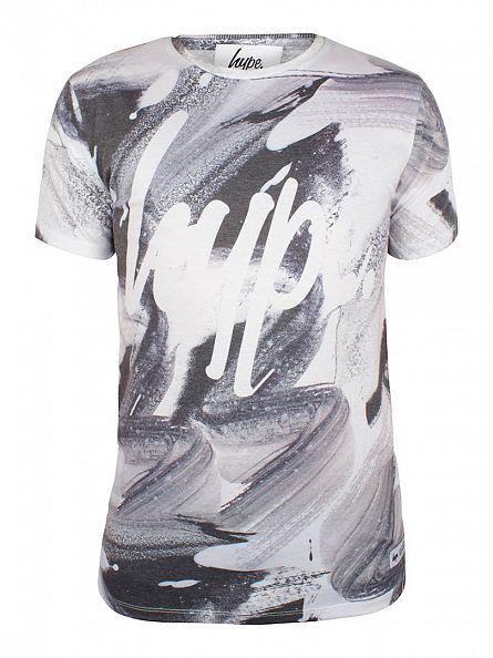 Hype White Brushstroke All Over Script T-Shirt