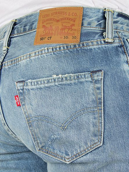 Levi's Light Denim 501 Customized Tapered Fit Dirty Dawn Jeans