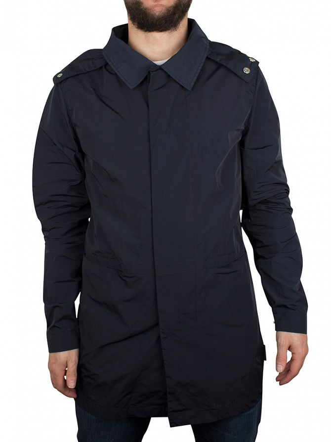 Bellfield Navy Boru Hooded Mac Jacket